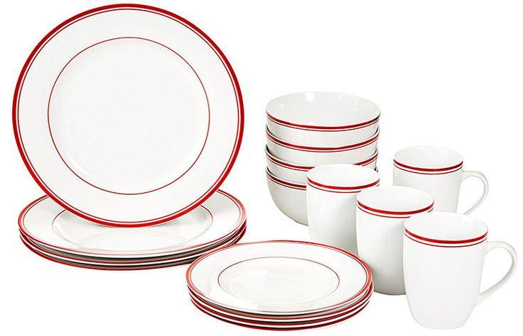 Best Dinnerware Sets For Everyday Use 9. AmazonBasics 16-Piece Cafe Stripe Dinnerware  sc 1 st  Pinterest & 10 best Top 10 Best Dinnerware Sets For Everyday Use In 2017 Reviews ...