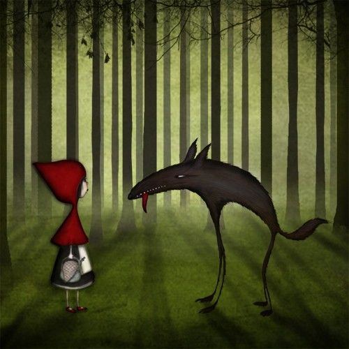 Little Red Riding Hood Meets the Wolf in the Forest - by Maja Lindberg