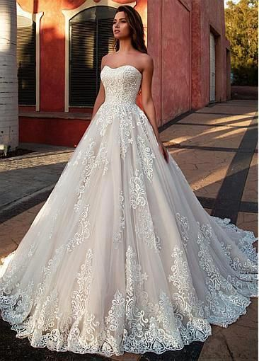 [284.40] Marvelous Tulle Sweetheart Neckline A-line Wedding Dress With Lace Appl…