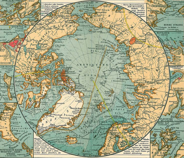 Nord Polar Meer and the Justhus Perthes See on a 1906 map of the Arctic