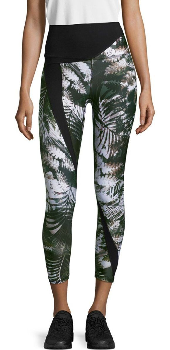 """Fitted stretchable leggings featuring a wide waistband. Banded elasticized waist. Pull-on style. Rise, about 11"""".Inseam, about 22"""".Leg opening, about..."""