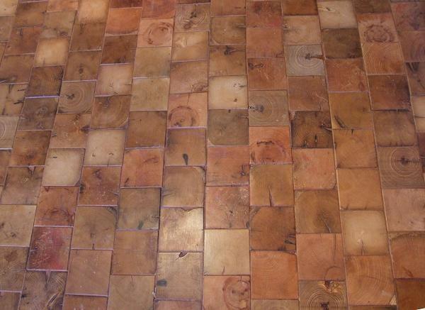 end grain cobble block wood tile flooring - Wood Tile Flooring
