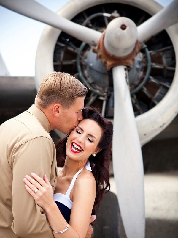 Vintage pin-up-style military engagement photos #military