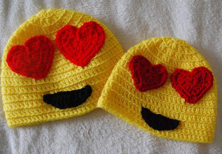 eye heart you emoji crochet hat pattern free!