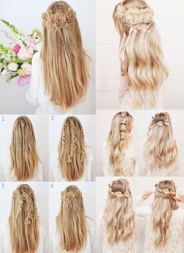 Diy Half Up Half Down Hairstyles Tutorials Prom Hairstyles Ideas Long Hair Halfuphalfdown Braids Bun Half Up Half Down Hair Hair Tutorial Half Up Hair