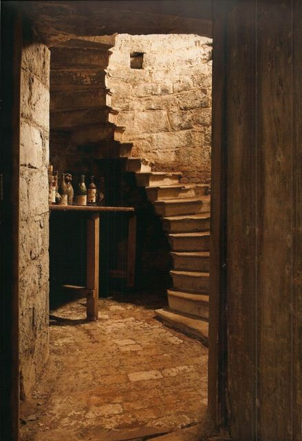 Stone staircase down into the Wine Cellar
