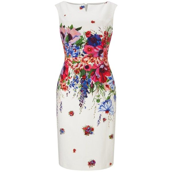 Phase Eight Louis Floral Dress, Multi ($155) ❤ liked on Polyvore featuring dresses, floral print dress, floral pencil dress, cut out maxi dress, cap sleeve dress и flower print dress