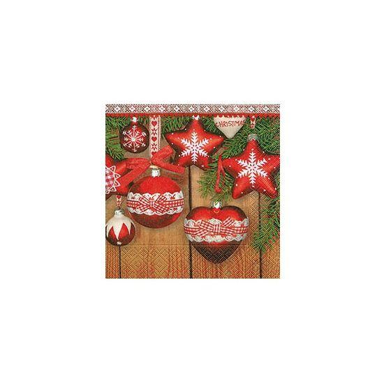 Kerst servetten met kerstballen. Kerst servetten met een afbeelding van diverse kerstballen. Formaat: 33 x 33 cm. Inhoud: 20 stuks. Papieren 3-laags kerst servetten.