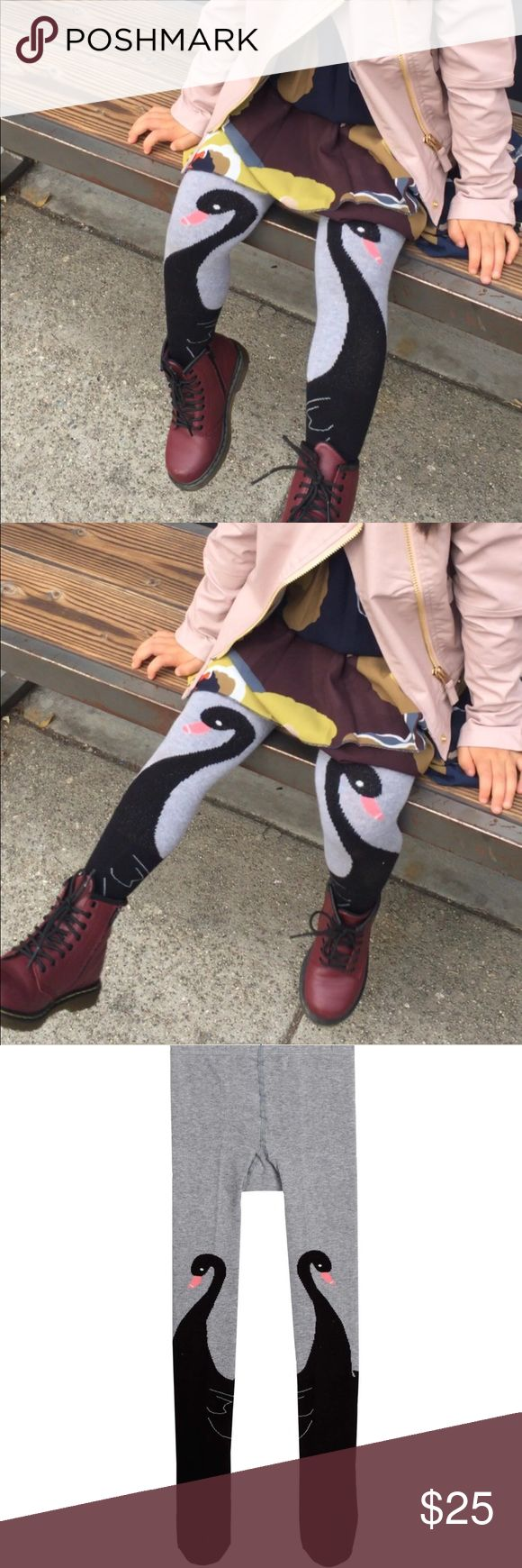 Black Swan Tights for girls Black Swan printed on Grey color tights Cotton blend paperwings Bottoms Leggings