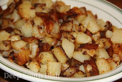 Southern fried potatoes, also known as Southern style hash brown potatoes, or, simply soft fried potatoes, are cubed peeled russets, that are first steamed and then pan fried like hash browns, tender inside, but with crispy outer edges.