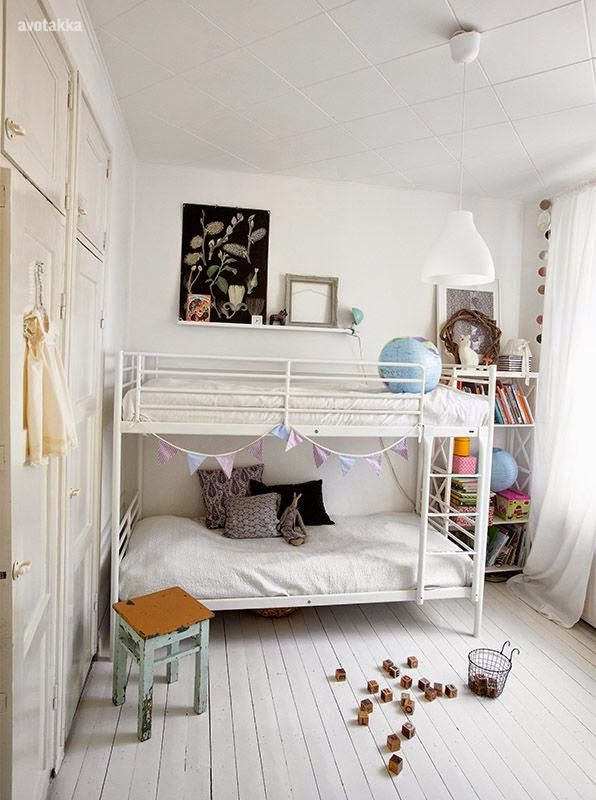 White Everything, Metal Bunk Bed, Floating Shelf, Bookcases, Built-In Cabinets, Gauzy White Drapes // simple