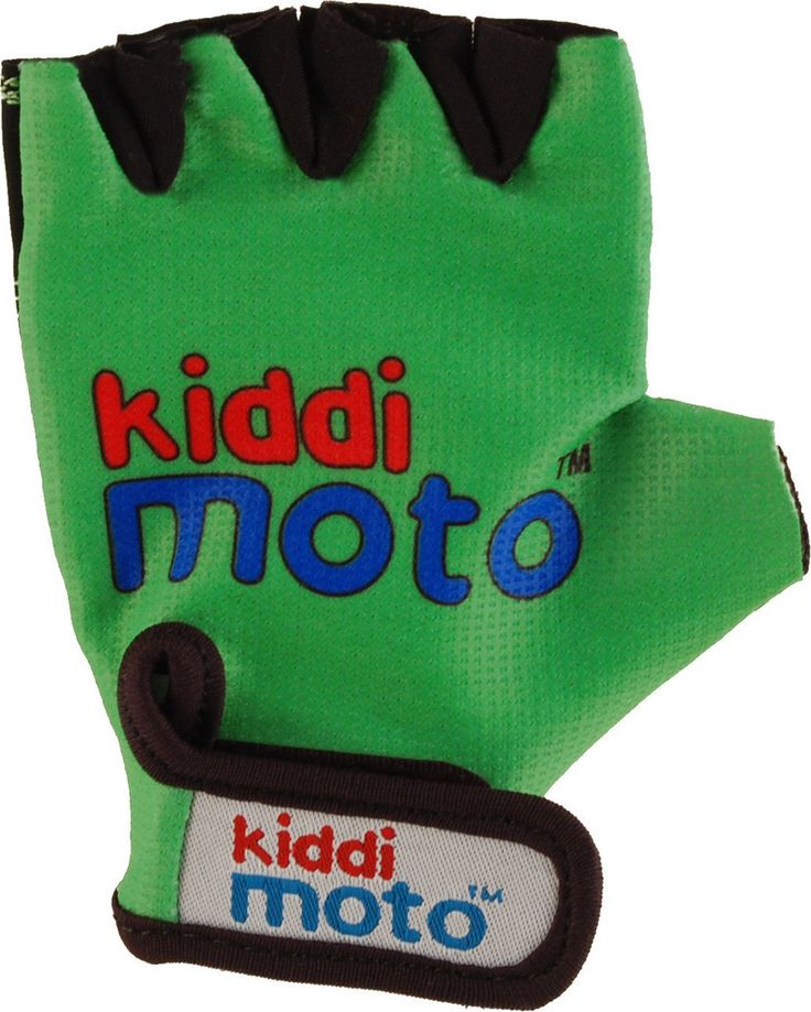 Gloves Green These kids' bike gloves are a must-have accessory for all Kiddimoto riders. They have padded grips on the palms and Velcro straps.  These kids' gloves are comfortable, functional and look cool whilst protecting vulnerable little hands as they scoot about on their Kiddimoto Wooden Balance Bike.  Suitable for ages 2-5 years