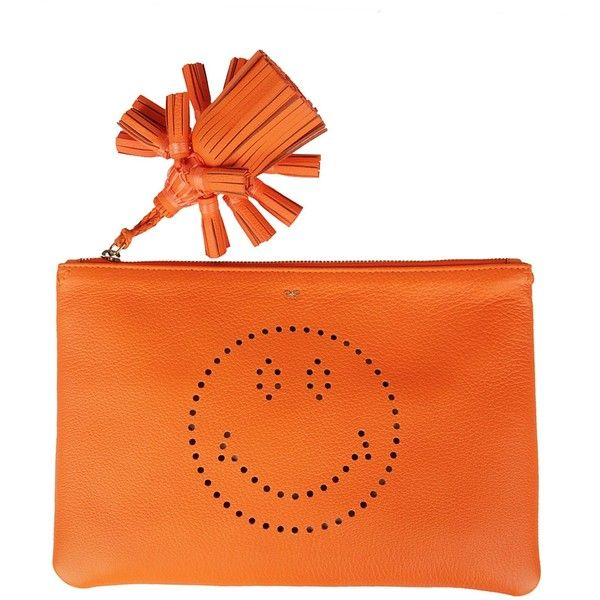 Anya Hindmarch Smiley Clutch (13.459.500 VND) ❤ liked on Polyvore featuring bags, handbags, clutches, orange handbags, anya hindmarch purse, orange purse, anya hindmarch and orange clutches