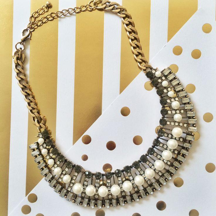 Pearl Deco Neckline Necklace | t+j Designs | #gold #pearls #necklace