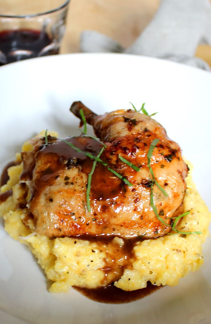 This roast chicken with red wine demi-glace and polenta makes a great weekend dinner.