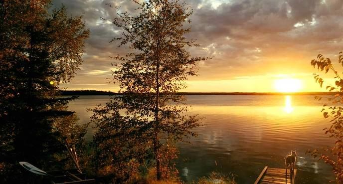 """Autumn Sunset at Lamp Lake,"" Mick Lessard, near La Ronge, Saskatchewan"