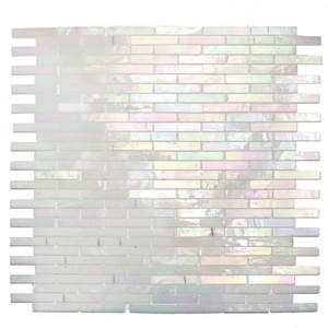 i love shiny tile. Stained Glass Mosaic Stix Collection Mother of Pearl White Iridescent CTOSTIX1800R