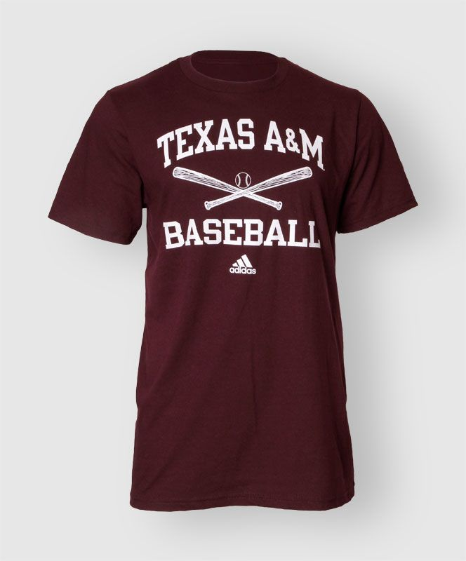 "This basic maroon shirt from Adidas reads ""Texas A&M Baseball"" on the front with crossed bats and a ball."