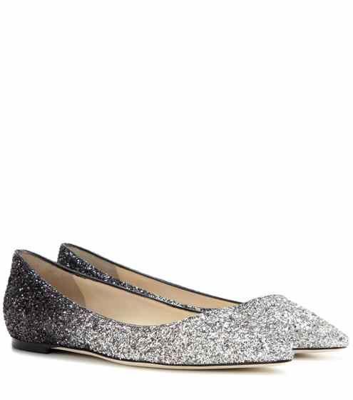 Ballerine Romy Flat con glitter | Jimmy Choo