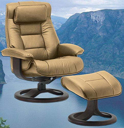 Scandinavian Fjords Mustang Large Leather Recliner and Ottoman - Norwegian Ergonomic Scandinavian Reclining Chair in Nordic Line Genuine Sandel Light Brown Leather Walnut Wood *** See this great product.