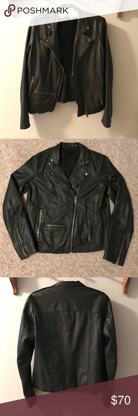 Boutique real leather biker jacket, black Very