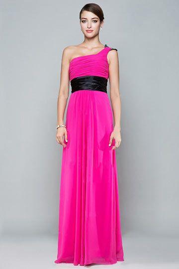 Robe chic soirée rose fuchsia asymétrique plissée ceinturée en noir