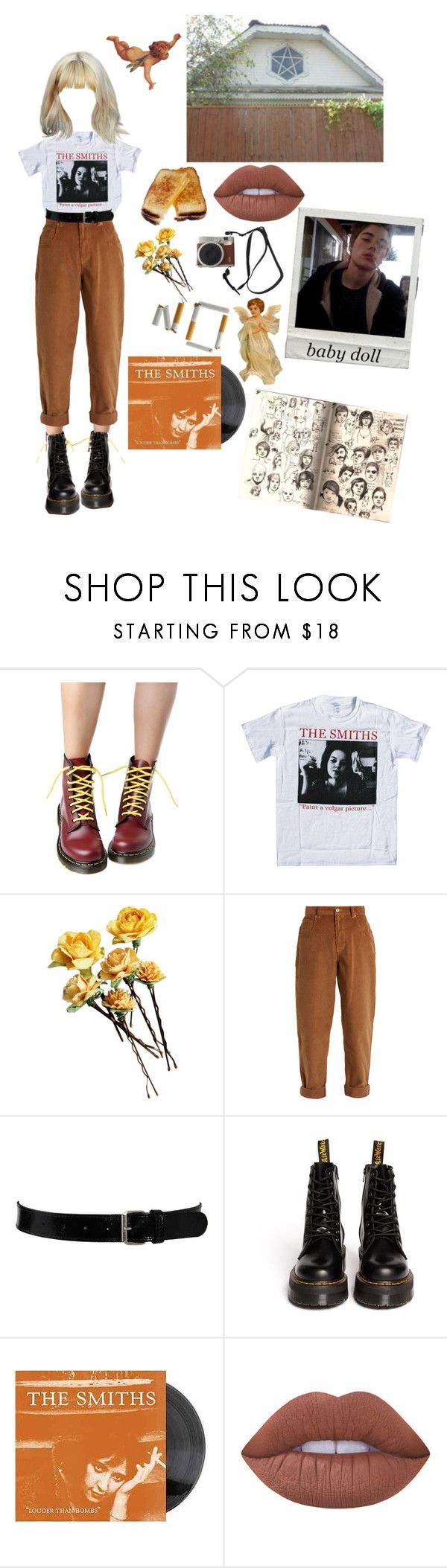 """""why so sad baby doll?"""" by saintkerosene ❤ liked on Polyvore featuring Dr. Martens, Miu Miu, Black & Brown London, Lime Crime, Fuji, angel, brown, babydoll, sketches and thesmiths"