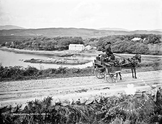 Bruckless County Donegal ca 1890 Jaunting Car ANTIQUE Photo