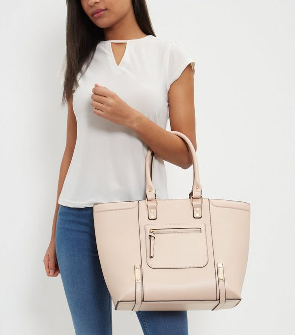 Stone Structured Tote Bag  | New Look