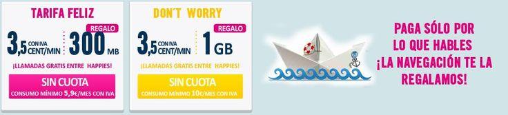 MasQmoviles Happy Móvil aún mantiene sus tarifas con Internet Gratis para el Móvil con un consumo mínimo