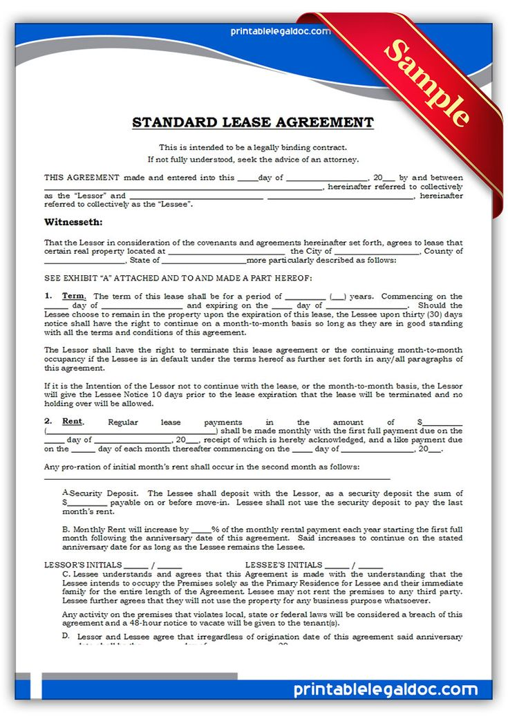 1001 best Legal Forms 2017 images on Pinterest Free printable - sample standard lease agreement