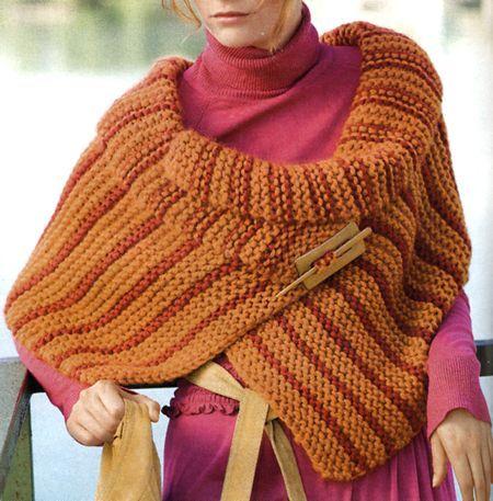 Lavori a maglia: un coprispalle colorato