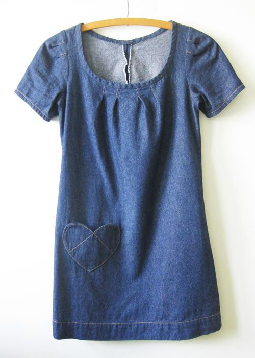 Denim dress with heart pocket.