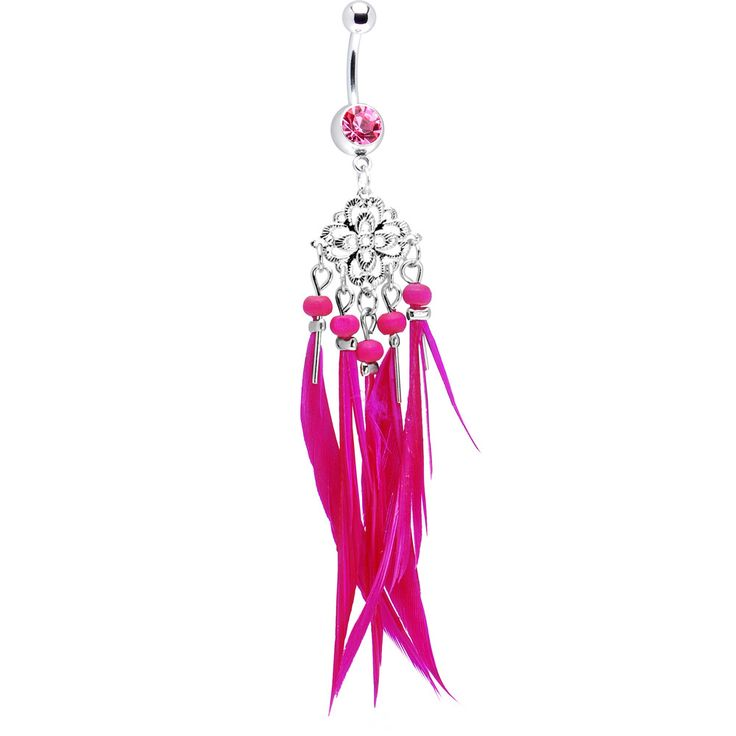 Pink Gem Southwestern Chandelier Feather Belly Ring