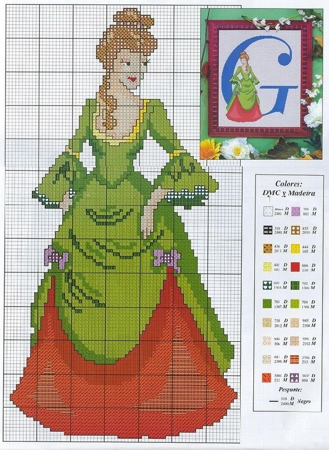 0 point de croix femme robe verte et rouge - cross stitch lady in red and green dress