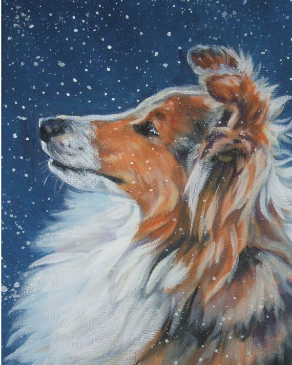 Shetland Sheepdog sheltie art print CANVAS print of by TheDogLover, $19.99