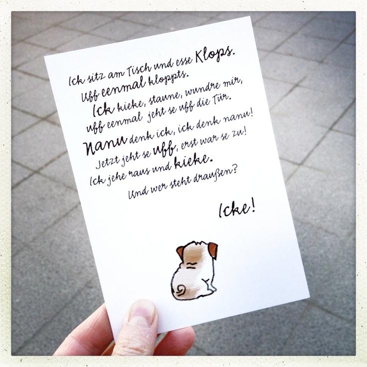 Postkarte, Ick sitze hier und esse Klops..., Berliner Schnauze.