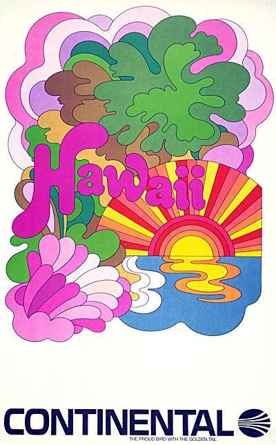 Hawaii vintage travel poster Pop Art Circa 1960 Continental Airlines