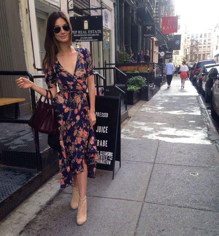Lily Aldridge hitting the streets in our Larkin dress. #refbabe