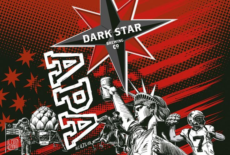Dark Star APA, another can art I did for Dark Star brewery, this time for their American pale ale. All things Americana, the iconic mixed with a touch of hops   #illustration #beer #ale #brewing #packaging #america    By Lon Chan - licensedtoill.co.uk