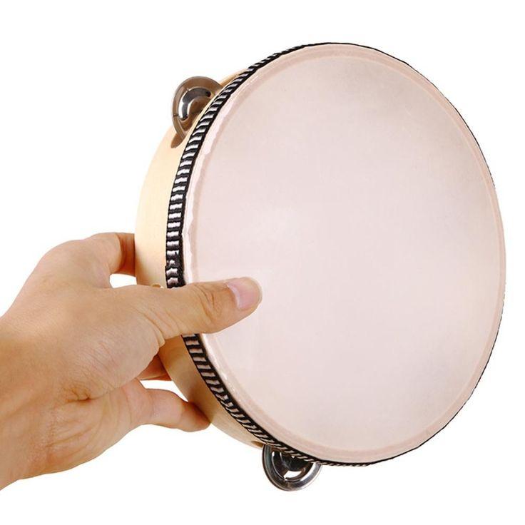 "8 ""Rebana Musik Pelajar Tamborine Putaran Drum Perkusi drumhead Festival Sekolah Hadiah untuk Partai kulit domba kayu cincin"