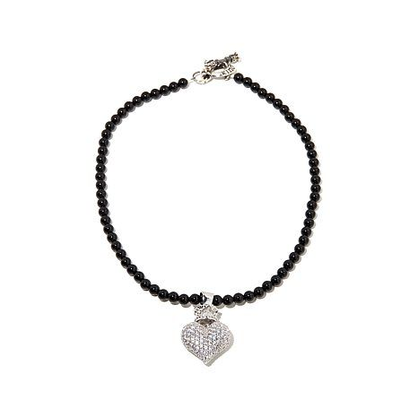 "Shop King Baby Jewelry CZ Crown Heart Sterling Silver Pendant with 18"" Black Onyx Bead Chain, read customer reviews and more at HSN.com."