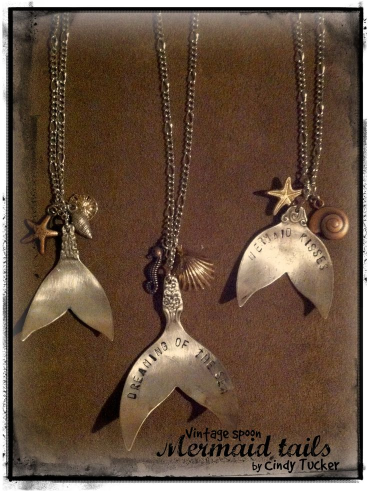 My mermaid tail necklaces. To stamp or not to stamp, both look nice.