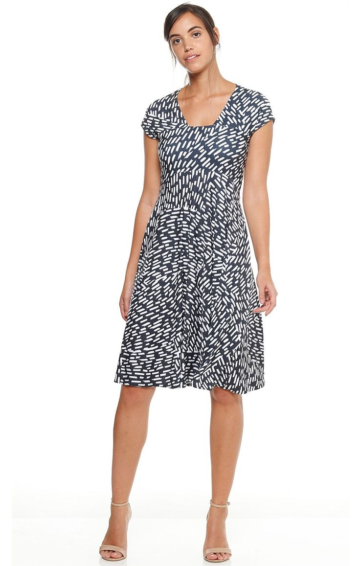 GRAY LINES CAP SLEEVE STRETCH KNEE LENGTH JERSEY DRESS IN CHARCOAL IVORY PRINT