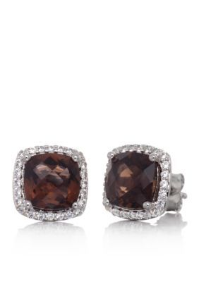 Belk  Co.  Smokey Topaz and White Sapphire Stud Earrings in Sterling S