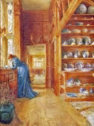 A watercolour by Ellen Clacy of Lady Betty Germain's China Closet