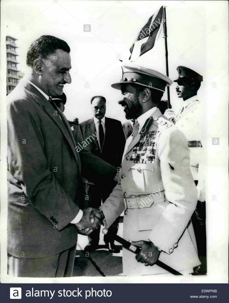 On 11 November 1963, Emperor Haile Selassie visits  Gamal Abdel Nasser Hussein of Egypt  on his way back from a visit to Yugoslavia.