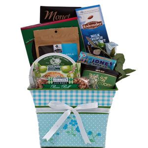 Send Mom something as sensational as she is...goodies include decadent chocolate dipped biscotti, crunchy crackers, creamy garlic and herb cheese, fine Virginia peanuts, gourmet granola, key lime shortbread cookies, pecan roll and fun Jone's Soda flavored drops!. Perfection!!