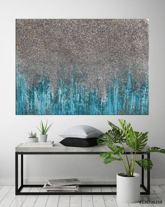 Glitter Art Canvas Teal Abstract Silver Glitter Painting Large