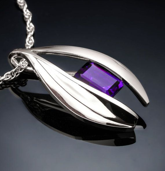 Argentium silver and amethyst pendant designed by David Worcester for VerbenaPlaceJewelry.Etsy.com